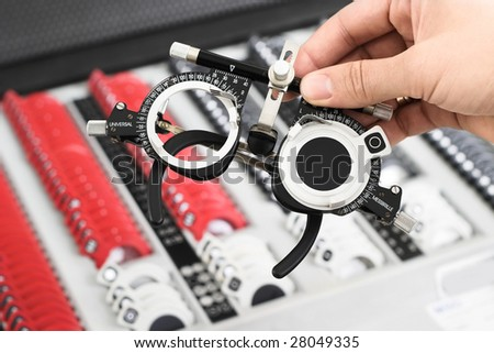 The universal-messbrille set is an important tool of the optometrists and oculists. - stock photo