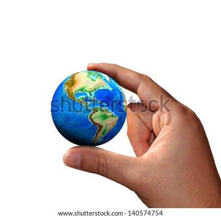 The universe in human hands (Elements of this image furnished by NASA) - stock photo