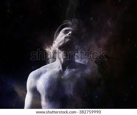 The universe within. Man in universe  - stock photo