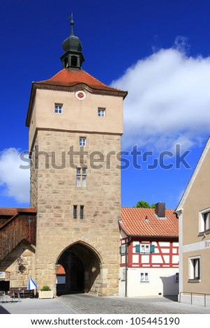 "The Upper Gate in Wolframs-Eschenbach, hometown of the troubadour and author of ""Parsifal"", Wolfram von Eschenbach, Bavaria, Germany"