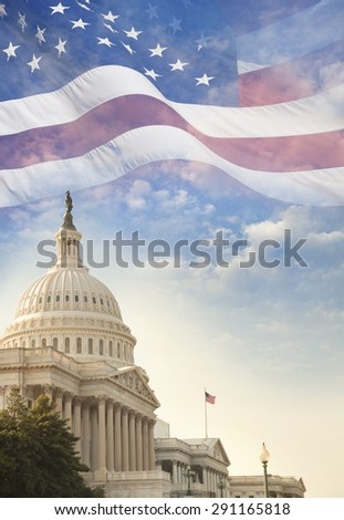 The US Capitol building with a waving American flag superimposed on the sky - stock photo