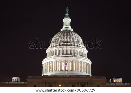 The US Capitol in Washington D.C. in the night