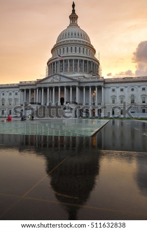 The US Capitol in Washington DC Landscape. Sunset time.