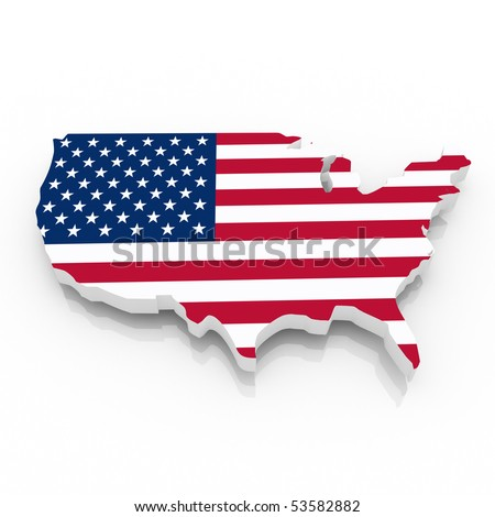 The US country map on a white background. Clipping path included.