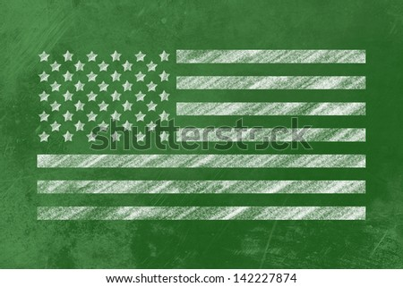 the us-Flag drawn on a backboard - stock photo