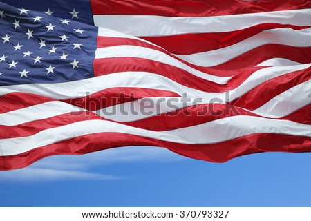 The US flag fluttering in the wind