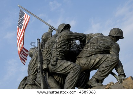 The US Marine Corps War Memorial is located near Arlington National Cemetery in Rosslyn, Virginia. It is dedicated to all personnel of the USMC who have died defending their country since 1775.