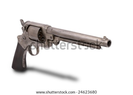 The USA double-action revolver of the Starr system from the American Civil War time. The path on the white background