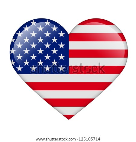 The USA flag in the form of a glossy heart - stock photo