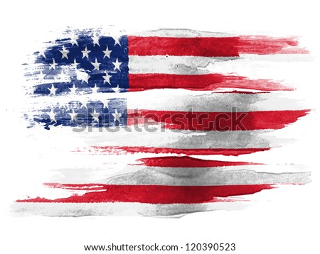 The USA flag painted on white paper with watercolor