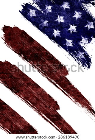 The USA flag painted on white paper with watercolor for the independence day - stock photo