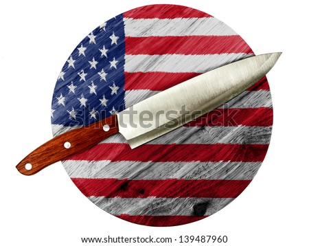 The USA flag  painted on wooden board with knife