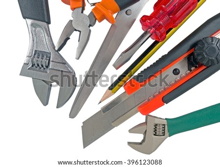 the used tools on white background