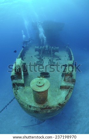 The USS Kittiwake from a different view, Grand Cayman - stock photo