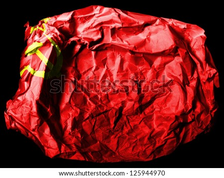 The USSR flag painted on  painted on crumpled paper on black background - stock photo