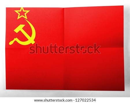 The USSR flag    painted on simple paper sheet - stock photo