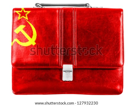 The USSR flag    painted on small briefcaseor leather handbag - stock photo