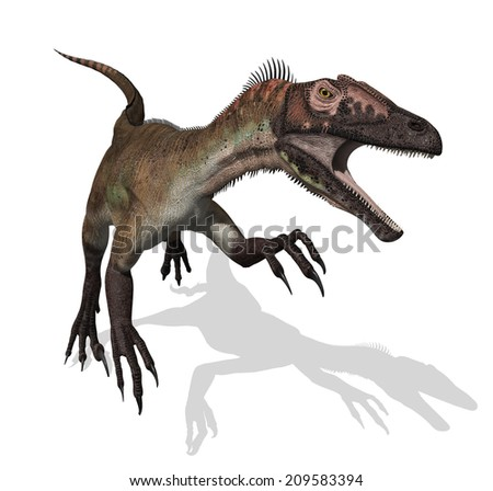 The Utahraptor was a dinosaur that lived during the early cretaceous period - 3d render. - stock photo