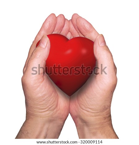 The valentine gift or offering of one person's heart to another person as a demonstration of love isolated on white