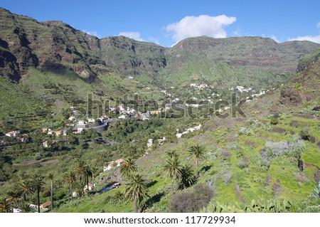 The Valle Gran Rey on the island La Gomera. La Gomera has the world heritage primal National Park Garajonay with the laurel forest - stock photo