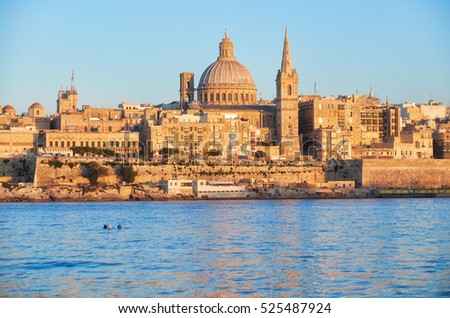 The Valletta skyline with Basilica of Our Lady of Mount Carmel as seen from Sliema. Malta