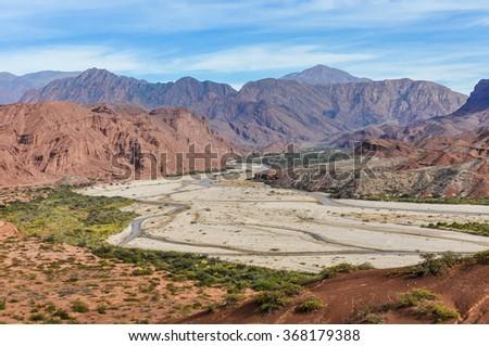 The valley in the Quebrada de las Conchas near Cafayate, Salta Province, Argentina - stock photo