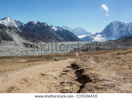 The valley of Khumbu glacier, view from the Kala Patthar - Nepal, Himalayas