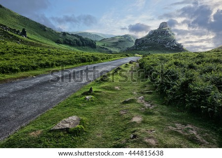 The Valley of the Rocks, Devon, England, UK. The road through the valley at sunset. - stock photo