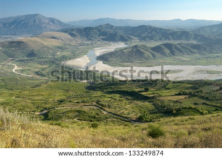 the valley Vjosa River from the ancient ruins of Byllis, Albania - stock photo
