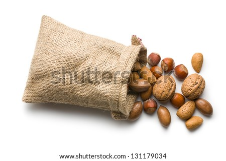 the various nuts in jute bag