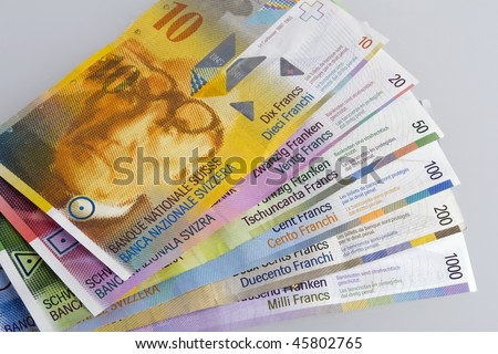 The various Swiss Franc bills - stock photo