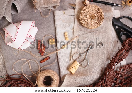 The various tools and accessories for needlework, top view - stock photo