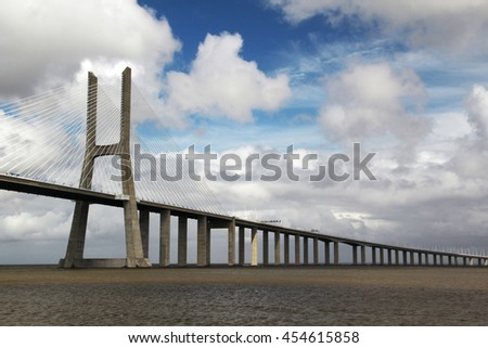 The Vasco da Gama Bridge, Lisbon, view from the Nations Park  - stock photo