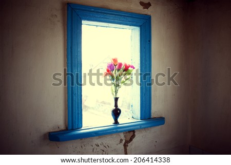 the vase with the flowers costs at an old window - stock photo