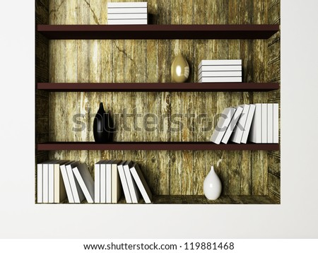 the vases and the books on the shelves, rendering - stock photo