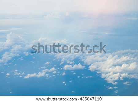 The vast blue sky and clouds sky, blue sky, sky - stock photo