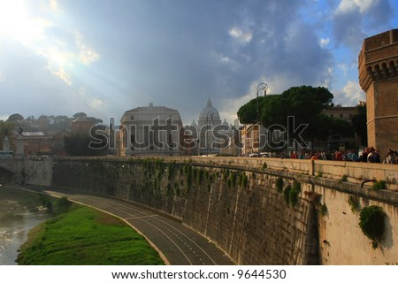 The Vatican as seen from across the Tiber River in Rome Italy.