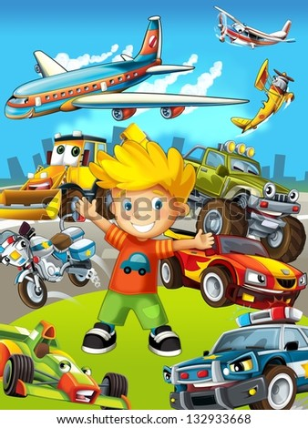 The vehicles - the label with kid - illustration for the children - stock photo