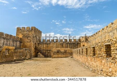 The Venetian fortress Frangokastello.Inner courtyard.District of Chania.Crete island. Greece.Europe. - stock photo