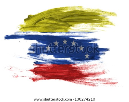 The Venezuelan flag  painted on white surface