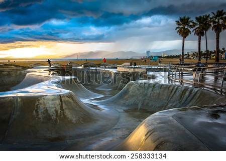 The Venice Skate Park at sunset, in Venice Beach, Los Angeles, California. - stock photo