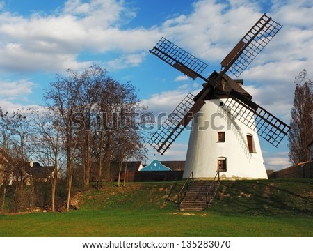 The very beautiful old mill - stock photo