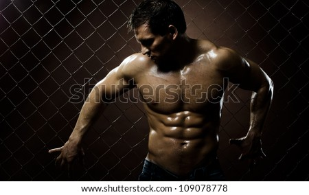 the very muscular handsome sexy guy on dark  brown netting background - stock photo