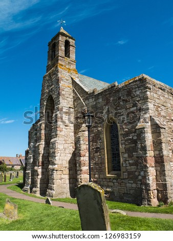 The very old church on the Holy Island in Great Britain