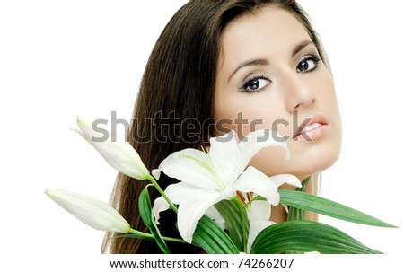 the very  pretty woman on white background, with lily, sensual sexuality gaze on camera, isolated