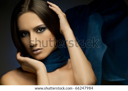 the very  pretty woman with dark blue neckerchief, sensual sexuality gaze...