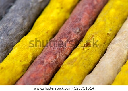 The vibrant and different colours that dog chews come in - stock photo