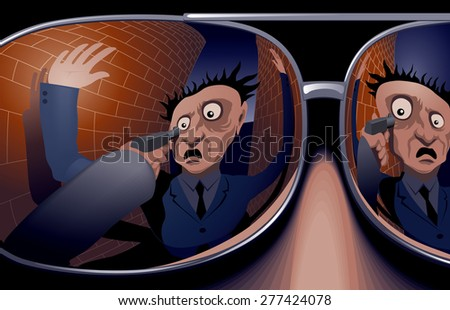 The victim and the hand with a gun in mirrored sunglasses thief. Raster copy.  - stock photo