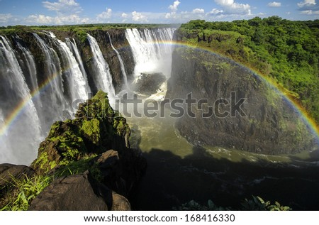 The Victoria Falls in Zimbabwe. - stock photo