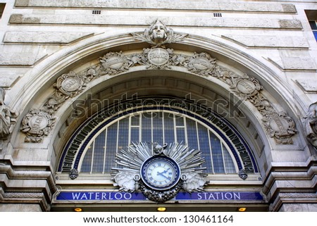 The victory arch above the entrance to Waterloo Railway Station in London. The arch is a memorial for the London, South Western and Southern Railwaymen who gave their lives in the two World Wars. - stock photo